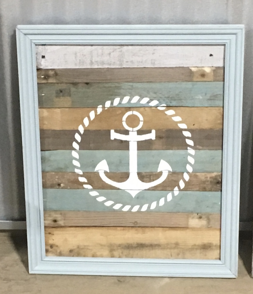 Rustic and nautical pallet wood anchor sign Home decor
