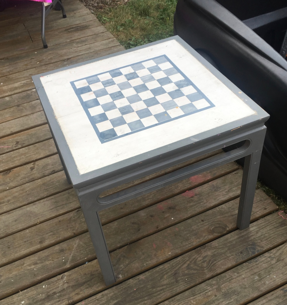 From Trash to Treasure! Some of the knicks on the top were hid better under my hand painted checkerboard. The finished piece turned out awesome, though the checkerboard took some time, it was worth it!