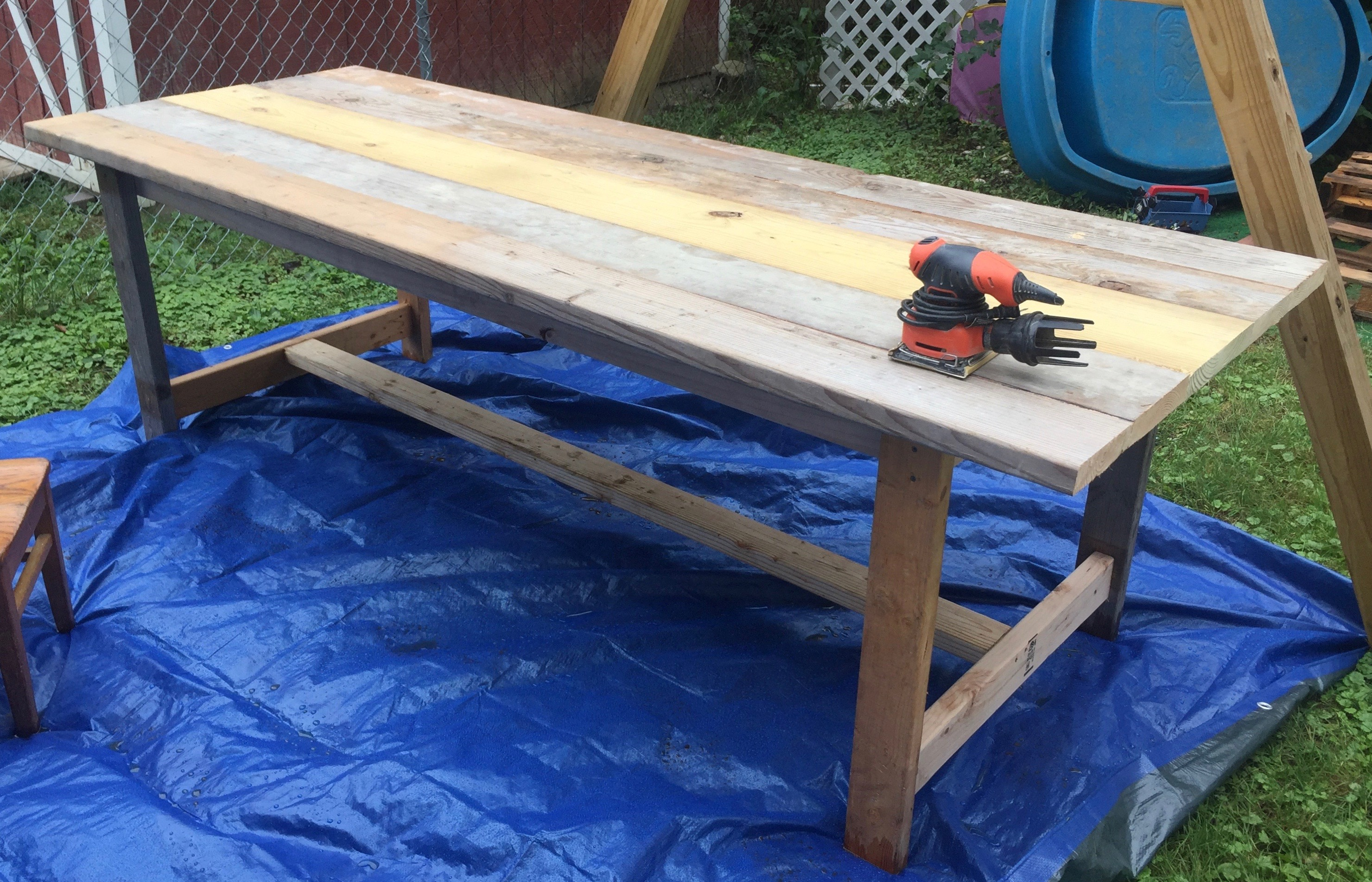 In progress of finishing up sanding my DIY Farmhouse table from reclaimed wood. Simple modern farmhouse style, rustic and beautiful all finished!
